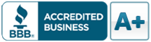 BBB accredited business logo with an A+ rating