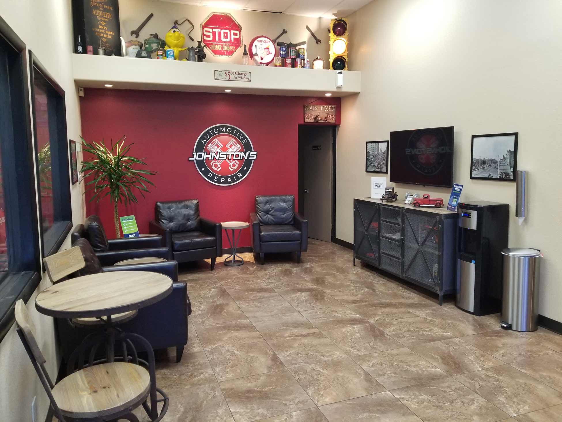 Johnston's Automotive car repair and oil change waiting room